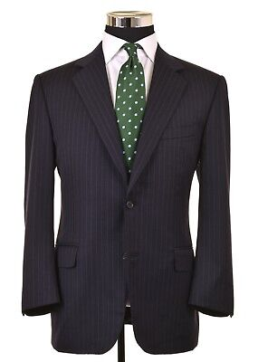 Canali Navy Blue Brushed Twill Wool Chalkstripe 2pc Suit Jacket Pants 50 40 R