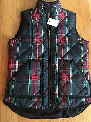 NWT J Crew Women's XS Quilted Excursion Vest Tartan Plaid  #G7528 Holiday 2017