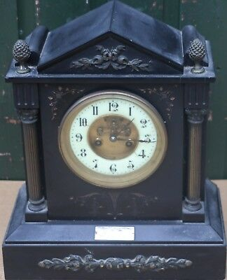 Large Black Slate Japy Freres Mantel Clock With Date Inscpiption Of 1892