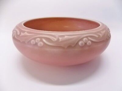 Sublime Circa 1927 Arts And Crafts Rookwood Pottery Pink Brown Holly Berry Bowl