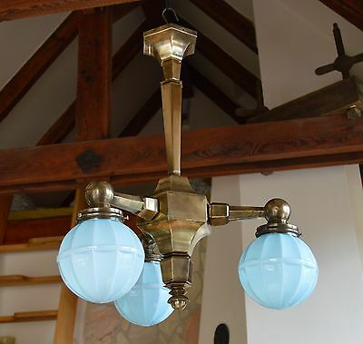 Czech Modernist Art Deco Chandelier Beautiful Light Blue Layered Glass Shades.