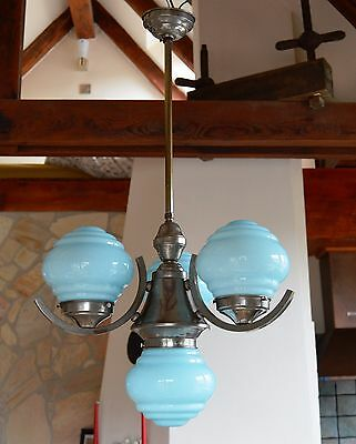 Czech Modernist Art Deco Chandelier Light Blue Layered Glass Shades