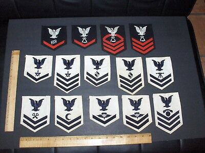 Vintage (14) Wwii Ww2 Era United States Navy Usn Patch Lot Includes Wool & Cloth
