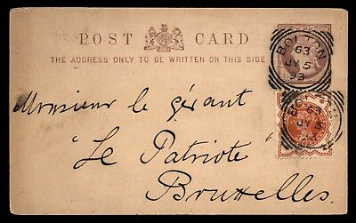 Great Britain Bolton to Belgium 1893 Uprated Postal Stationery Card