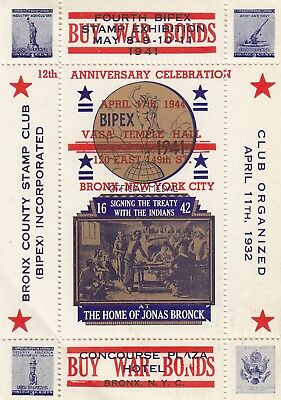 "Stamps 1941 Bronx County Stamp Club ""Buy War Bonds"" BIPEX Cinderella sheetlet"