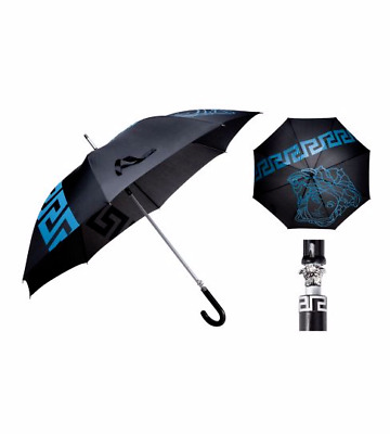NEW Versace Umbrella Medusa Head Blue/Black Greek Key Extra Large
