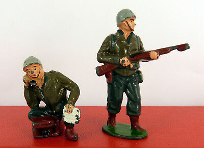 TIMPO LEAD U.S ARMY G.I's WITH FIELD TELEPHONE & ON GUARD WITH RIFLE ( GOOD CON