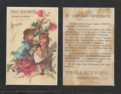 1880s CHOICE BOHSEMEEM SPICES WEIKEL & SMITH PHILADELPHIA VICTORIAN TRADE CARD