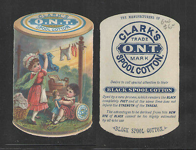 1880s CLARKS ONT SPOOL COTTON GIRLS HANG CLOTHES ON THREAD VICTORIAN TRADE CARD