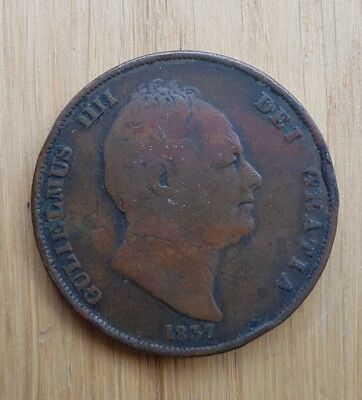 1837 William Iv Copper Penny - Extremely Rare Coin
