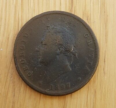 Very Rare 1827 George Iv Penny Clear Date & Detail