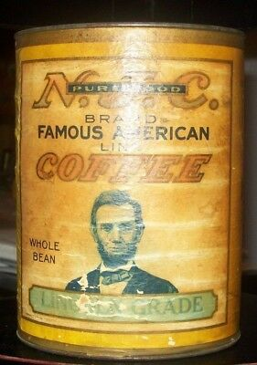 "Rare 1890-1920 N.j.c. Brand ""lincoln Grade"" Tin & Paper Coffee Container"