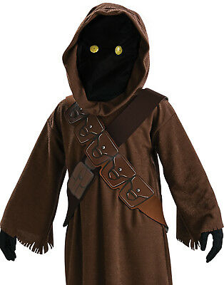 Star Wars Child Jawa Hooded Mask With Light Up Eyes Boys Halloween Costume S-L