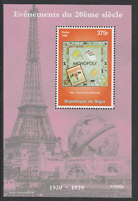 Niger Rep 6208 - 1998 EVENTS OF 20th CENTURY - MONOPOLY BOARD GAME  m/sheet u/m