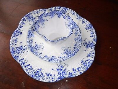 Shelley Dainty Blue Trio Set Cup/ Saucer With Lunch Plate