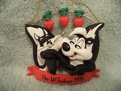 Warner Bros. 1999 Pepe Le Pew And Penelope's 1st Christmas Together Ornament