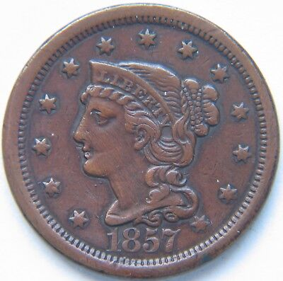 1857 1C Large Date BN Braided Hair Large Cent  Rare Key Date