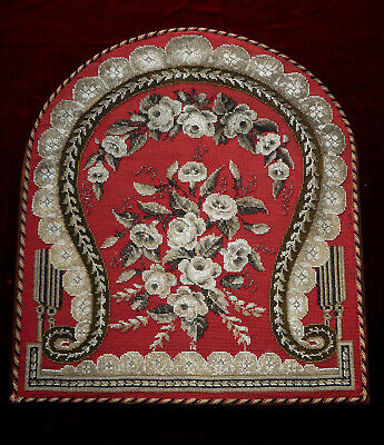 Superb Large Antique Beadwork Panel Victorian Grisaille Silk & Wool Berlin Work