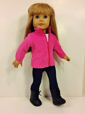 """4PC Pink Jacket, Top, Leggings for 18"""" American Girl Doll, 18 Inch Doll Clothes"""
