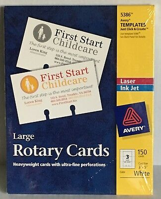 """Avery 5386 3 x 5"""" Rotary Cards 150 New FREE SHIPPING"""