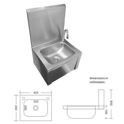 "16"" x 16"" x 24"" Stainless Steel Knee Operated Commercial Sink Wall Mount"