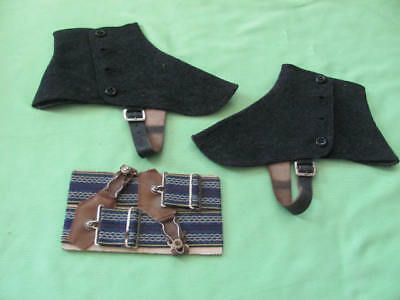 Pair mens vintage spats and maybe sock garters ? never used
