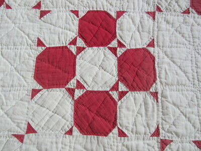 Vintage red and white Snowballs quilt hand quilted