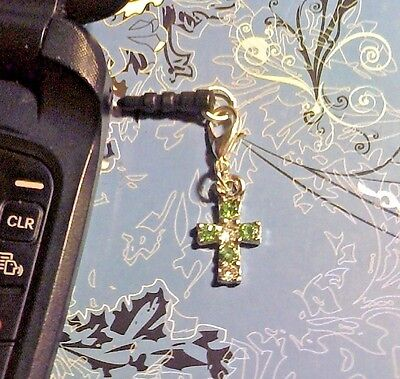 Rhinestone Cross Green Cell Phone Clip Charm~Dust Plug Cover~Free Ship