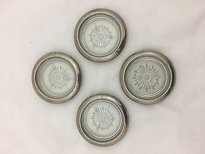 4 Silver Plate And Glass Coasters