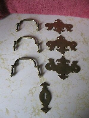 VINTAGE BRASS DRESSER DRAWER PULL HANDLES with KEY PLATE LOT OF 3