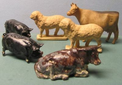 6 Farm Animals 2 Metal Pigs, 1 Metal Cow, 2 Composition Sheep, 1 Hard Rubber Cow