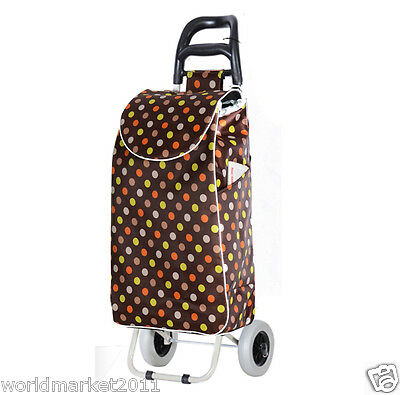 %H New Convenient Brown Pattern Two Wheels Collapsible Shopping Luggage Trolleys