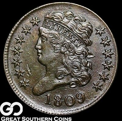 1809 Half Cent, Classic Head, Nice BU++ Early Copper, Tough ** Free Shipping!