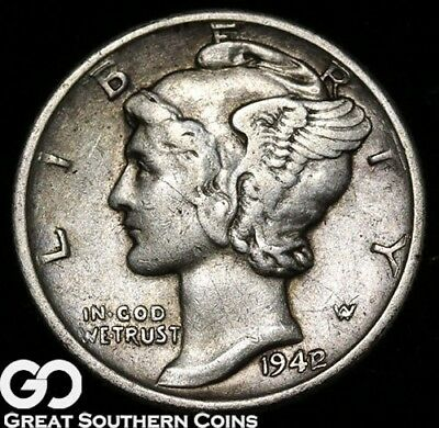 1942/1 Mercury Dime, Avidly Pursued Choice XF Key Date Mint ERROR, ** Free S/H!