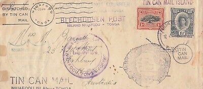 Stamps Tonga 1938 tin can outwards cover to Ashbury NSW Australia, cachets