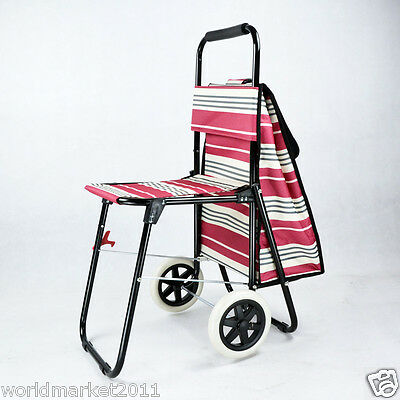 Stripe White Chair Two Wheels Convenient Collapsible Shopping Luggage Trolleys