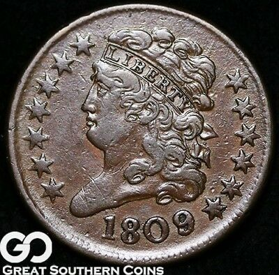 1809 Half Cent, Classic Head, Very Choice XF++/AU Early Copper!