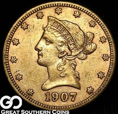 1907-S Gold Eagle, $5 Gold Liberty, ** Free Shipping!