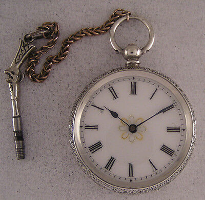Amazing Cylindre 130-Years-Old Antique English Silver KW/KS Pocket MINT Serviced