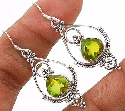 3CT Tourmaline Quartz 925 Solid Genuine Sterling Silver Earrings Jewelry, R14