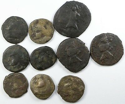 Indo-Skythians Paratarajas of Sindh & Baluchistan Group of 10 AE Drachms
