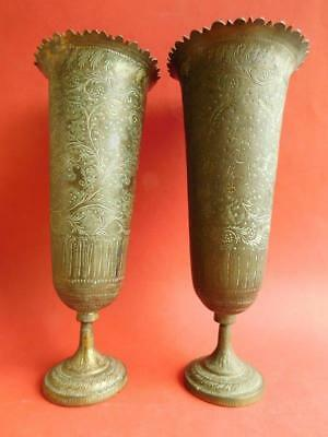 Excellent Pair of Large Indian Brass Vases Intricate engraved decoration c1900s