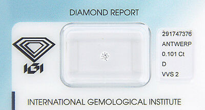 Diamant 0,101 ct D VVS 2 IGI Zertifikat  - Sealed -
