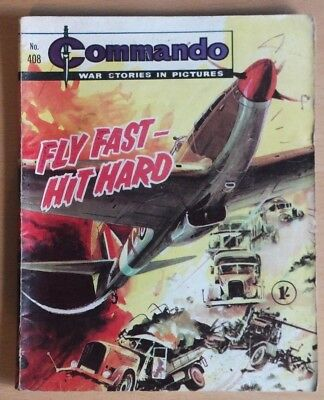 """COMMANDO # 408 """"Fly fast – Fly hard"""" published 1969. War Stories Picture Library"""
