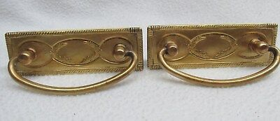 Vintage Pair Drawer Cabinet Furniture Door Decorative Brass Drop Pull handle
