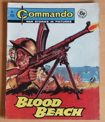 """COMMANDO # 723 """"Blood Beach"""" published 1973. War Stories Picture Library Comic."""