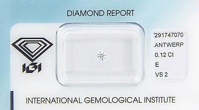 Diamant 0,12 ct E VS 2 IGI Zertifikat  - Sealed -