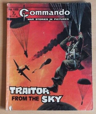 """COMMANDO # 1000 """"Traitor from the sky"""" 1976 Comic. War Stories Picture Library."""