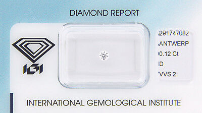 Diamant 0,12 ct D VVS 2 IGI Zertifikat  - Sealed -