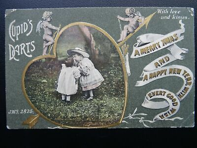 Christmas LOVE & CUPIDS DART With Love & Kisses - Old Postcard by J. Welsh